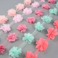 24 heads flower lace trim chiffon flowers lace pom pom ribbon diy sewing girls tutu dress accessories fabric applique trimmings