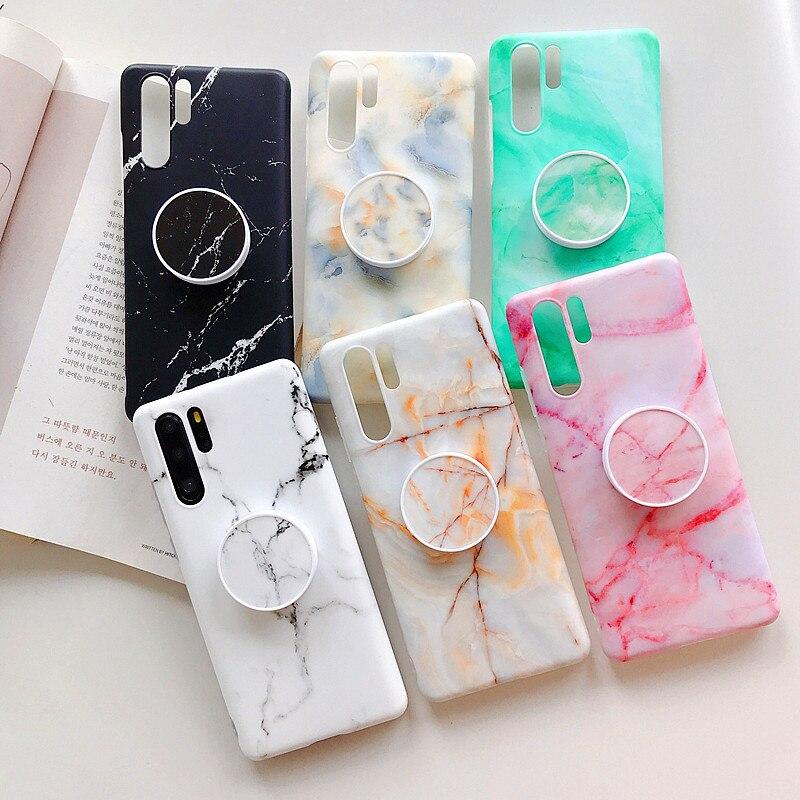 Funda de teléfono con soporte plegable de mármol pintado a la moda para Huawei P30 P20 Mate20 Lite Pro suave TPU para Huawei nova3i caso