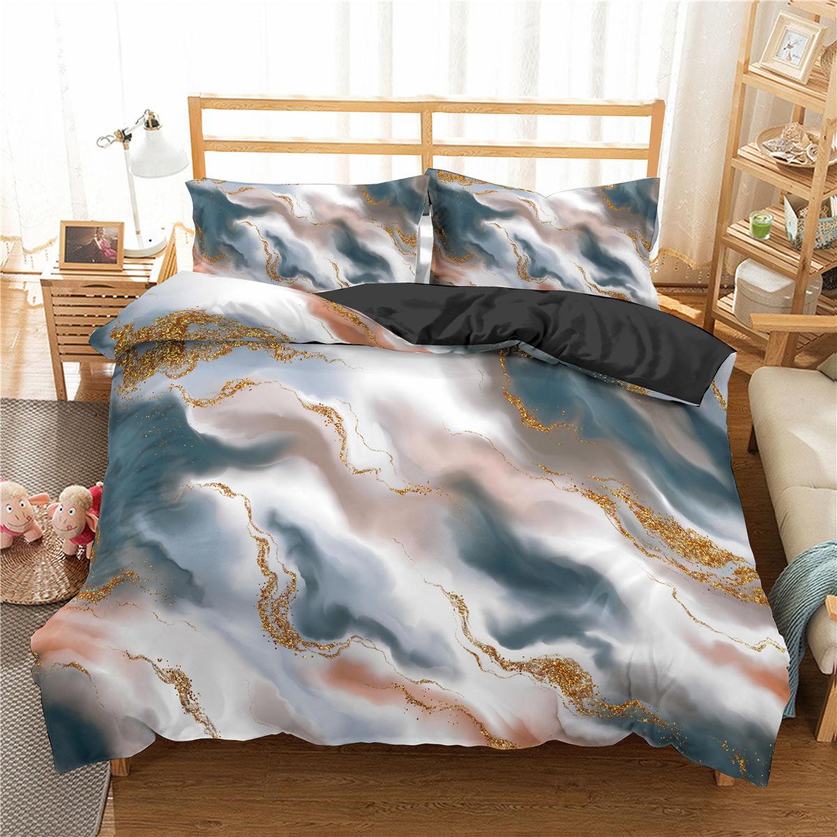 تخصيص غطاء لحاف و المخدة الفاخرة الرخام نمط المنسوجات المنزلية التوأم الملكة الملك طقم سرير 2/3 قطعة غطاء لحاف هندسي