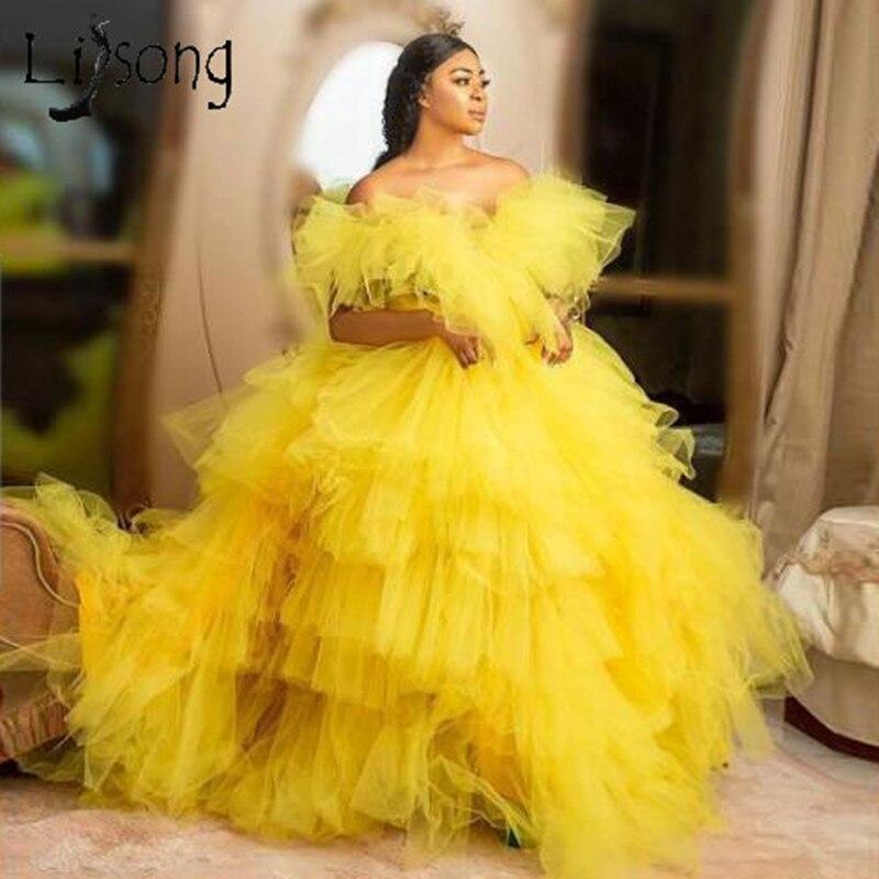 فستان سهرة طويل منتفخ مكشكش ، أصفر جميل ، متعدد المستويات ، عصري ، أكتاف عارية ، للحفلات الراقصة