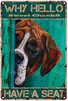 Citation drole de salle de bain en metal  decor mural Vintage pourquoi bonjour les joues douces ont un siege pour chien