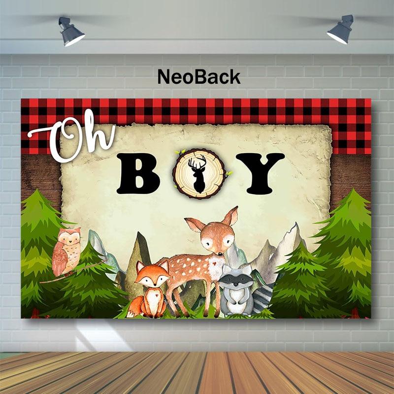 Lumberjack Baby Shower fotografía telón de fondo Oh Boy Rojo Negro tartán Fondo Camping Animal Pino árboles foto fondos