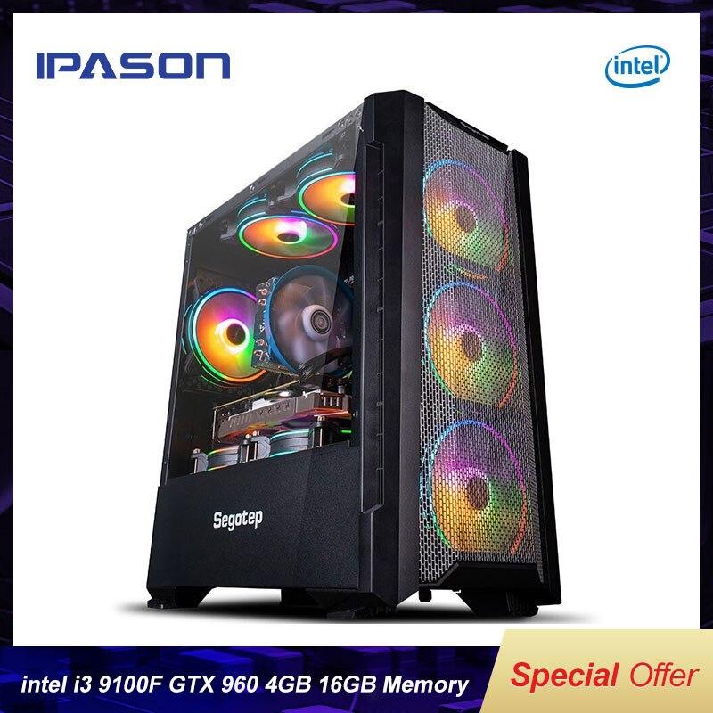 IPASON 4-Core I3 9100F/GTX960 4G Gaming Desktop Computer 240G SSD 8/16G RAM DIY Assembly LOL/PUBG Ga