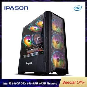 IPASON 4-ядерный I3 9100F/GTX960 4G игровой настольный компьютер 240G SSD 16G RAM DIY сборка LOL/PUBG игровой высокопроизводительный DIY ПК