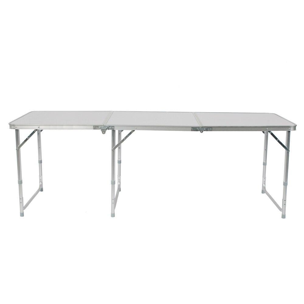Mesa de campamento plegable de aleación de aluminio de 180x60x70 cm Mesa blanca plegable ajustable para Camping Picnic al aire libre -Stock