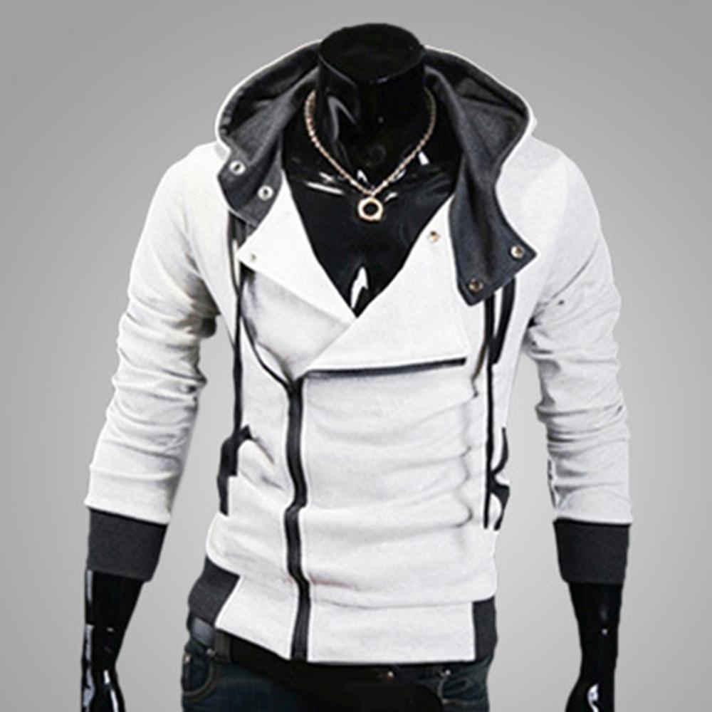 Sudaderas con capucha de retazos de moda chaqueta de cremallera Diagonal para Hombre Sudaderas con capucha ropa