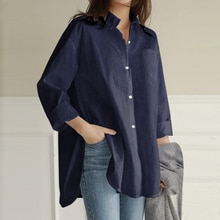 Japanese Style Autumn New 2021 Blue Women's Clothing Asymmetry Lapel 9 Sleeves Blouse Fashion Casual