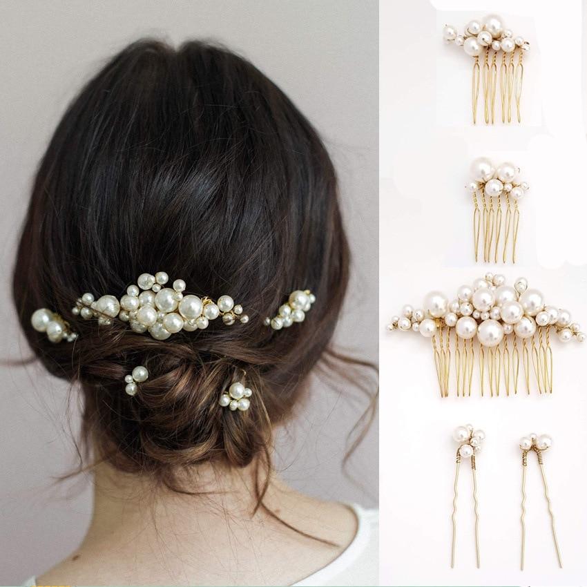 5 unids/set barroca grande de imitación de perlas Horquillas para el pelo de las mujeres flores peines para el pelo de la Boda nupcial de la fiesta de la joyería del pelo regalo