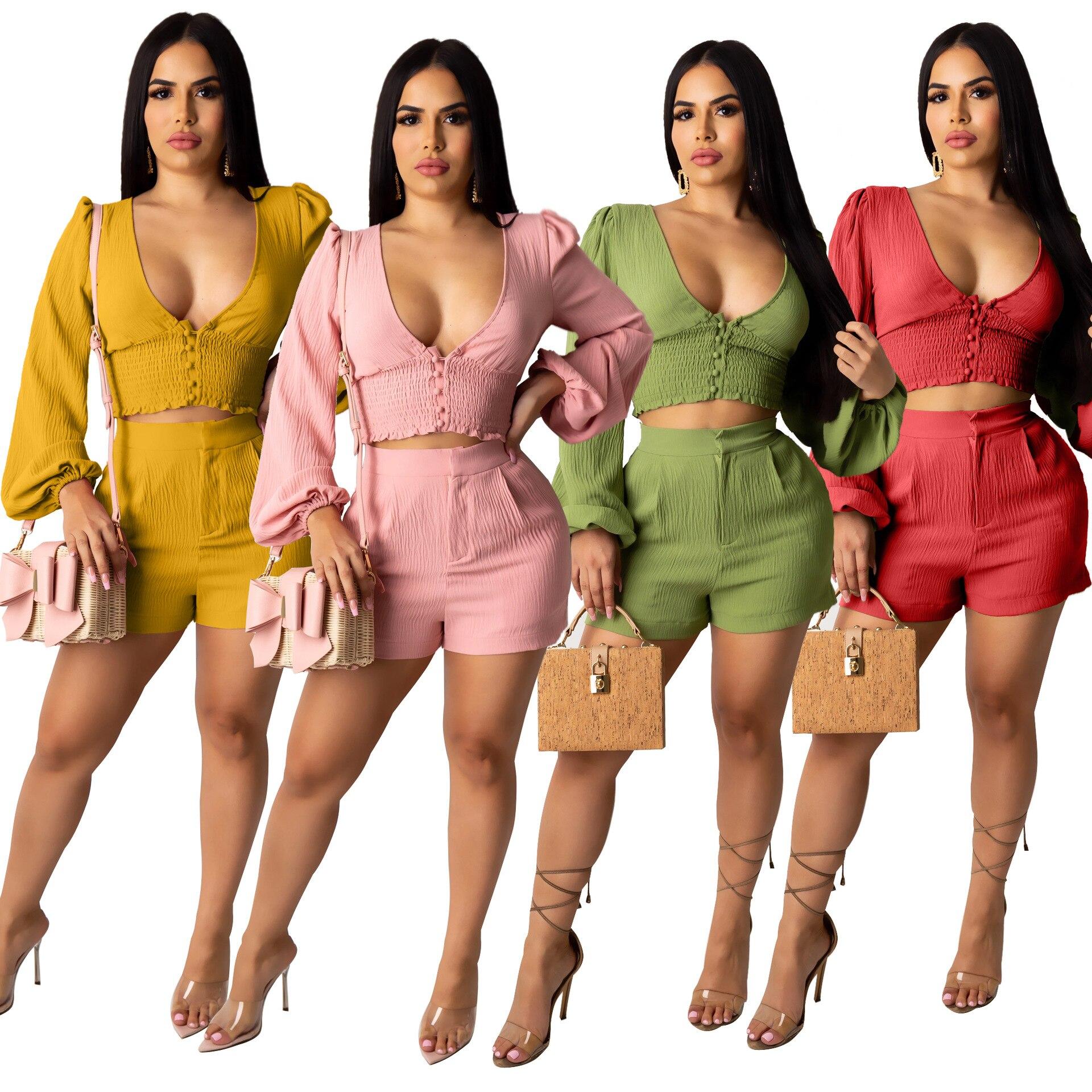 AJ4098 женская повседневная одежда из двух частей, модная универсальная Хлопковая женская одежда с глубоким вырезом, брюки с пышными рукавами ...