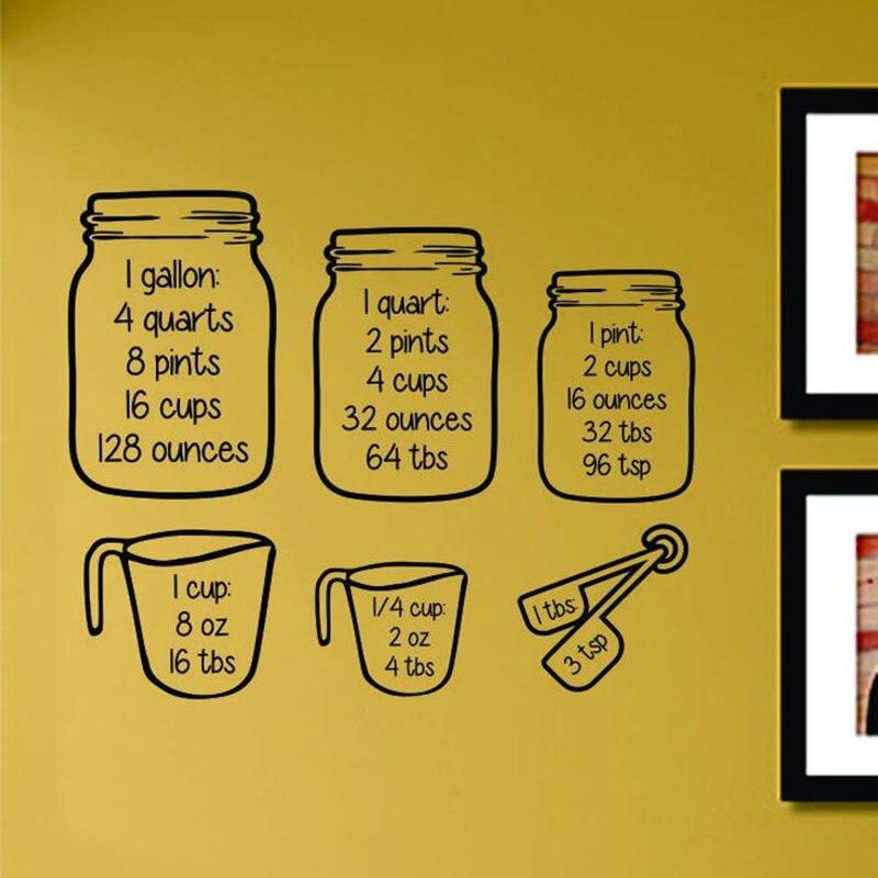 Copos de medição de Parede Decalque Casa Cozinha Decoração Conversão de Cozimento Conjunto Copo Measur Parede Restaurante Adesivo de Parede de Vinil Arte Mural AF008
