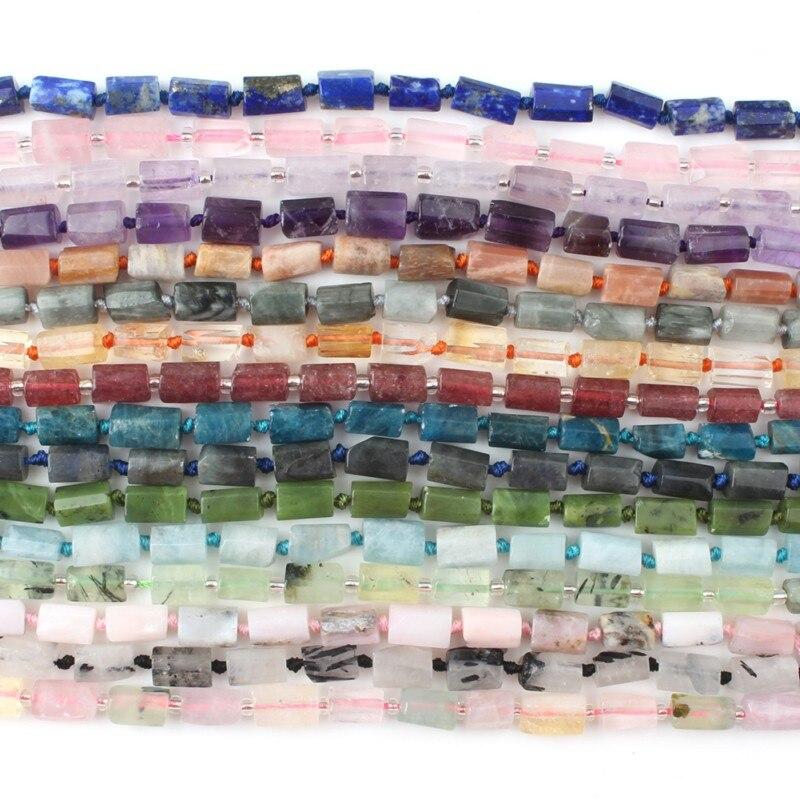 8x11mm Natural Cylinderl lapislázuli & Quartzs & Aquarnarina etc cuentas de piedra para Diy accesorios de pulsera joyería Making7.5