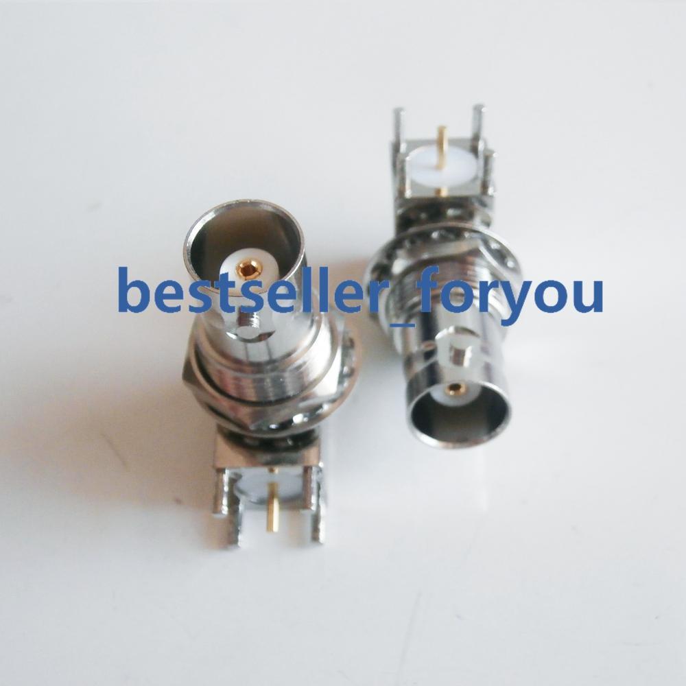 10Pcs BNC Q9 Female Jack With Nut Bulkhead Right Angle PC Board PCB Mount RF Connector