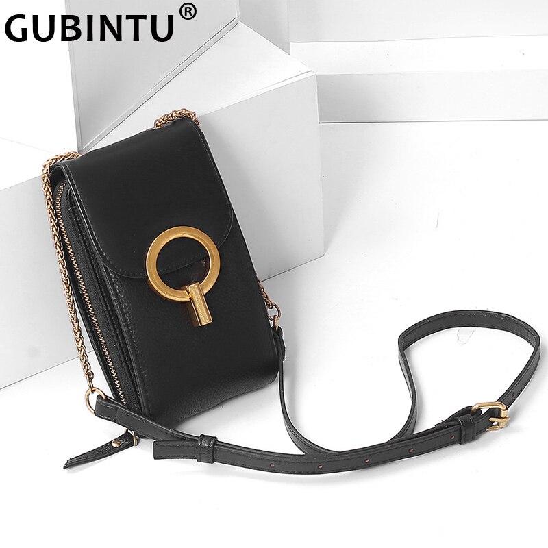 Bolsos de marca de diseñador para mujer, bolso de cuero genuino, elegante Mini bolso de hombro versátil para mujeres, bolsos cruzados, Bolso pequeño para IPhone
