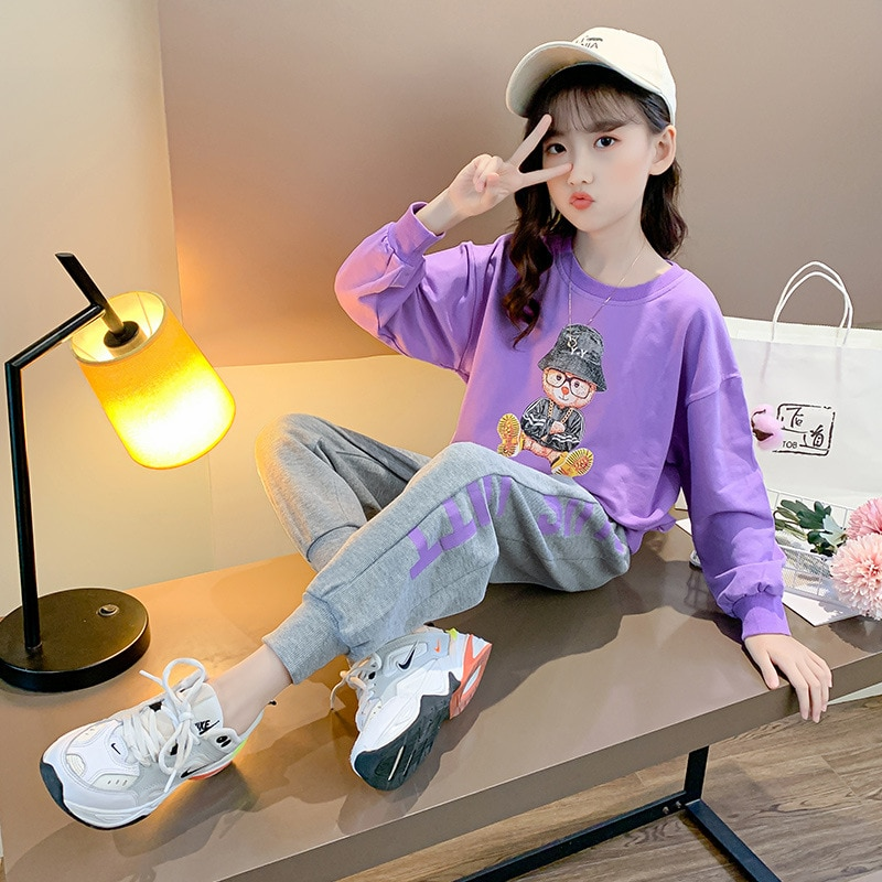 Kids Girls Sport Suit Teenage Autumn Clothes Set Long Sleeves Top & Pants Casual 2-12 Years Cartoon Infant Clothing