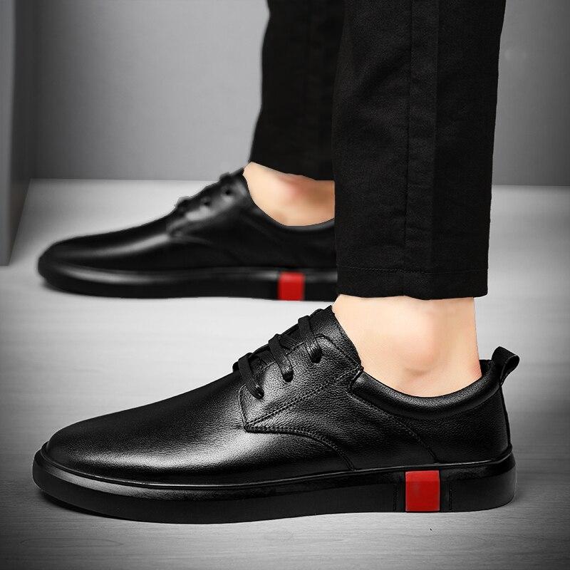 Sapatos de Couro Minimalista para Homem Casual Masculino Genuíno Diariamente Calçados Moda Rendas-up Lazer Negócios Escritório