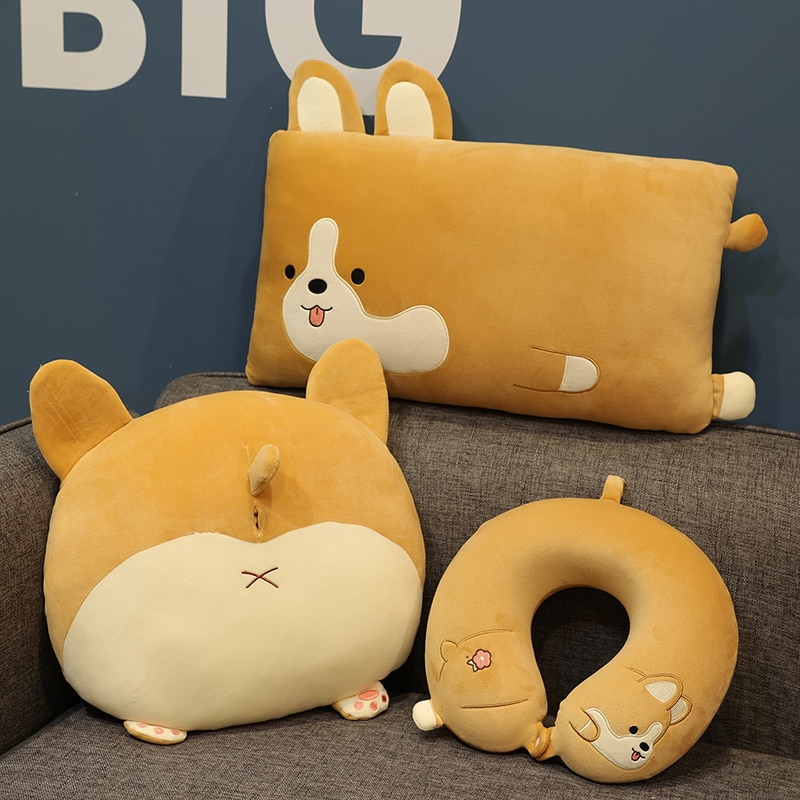 Супермягкая плюшевая набивная Подушка Jpan Shiba Inu, подушка для путешествий, Прямоугольная подушка для сна в виде собаки Шиба-ину