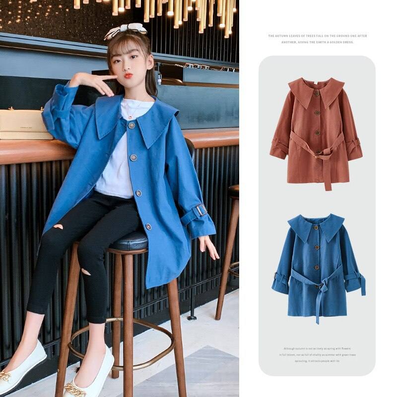 2021 Spring Autumn Girls Jacket Coat Children Outerwear Long Sleeve Trench Kids Clothes Teen Girls J
