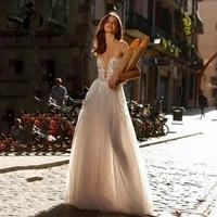 sodigne sexy bohemian wedding dresses 2021 sweetheart lace appliqued glitter beach bridal dress illusion boho wedding gowns