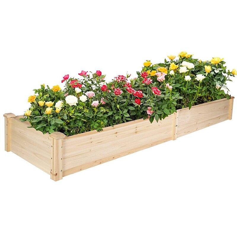 صندوق زراعة خشبي 7.5 قدم ، سرير حديقة مرتفع ، 2 كيس زراعة منفصل ، مساحة زهور