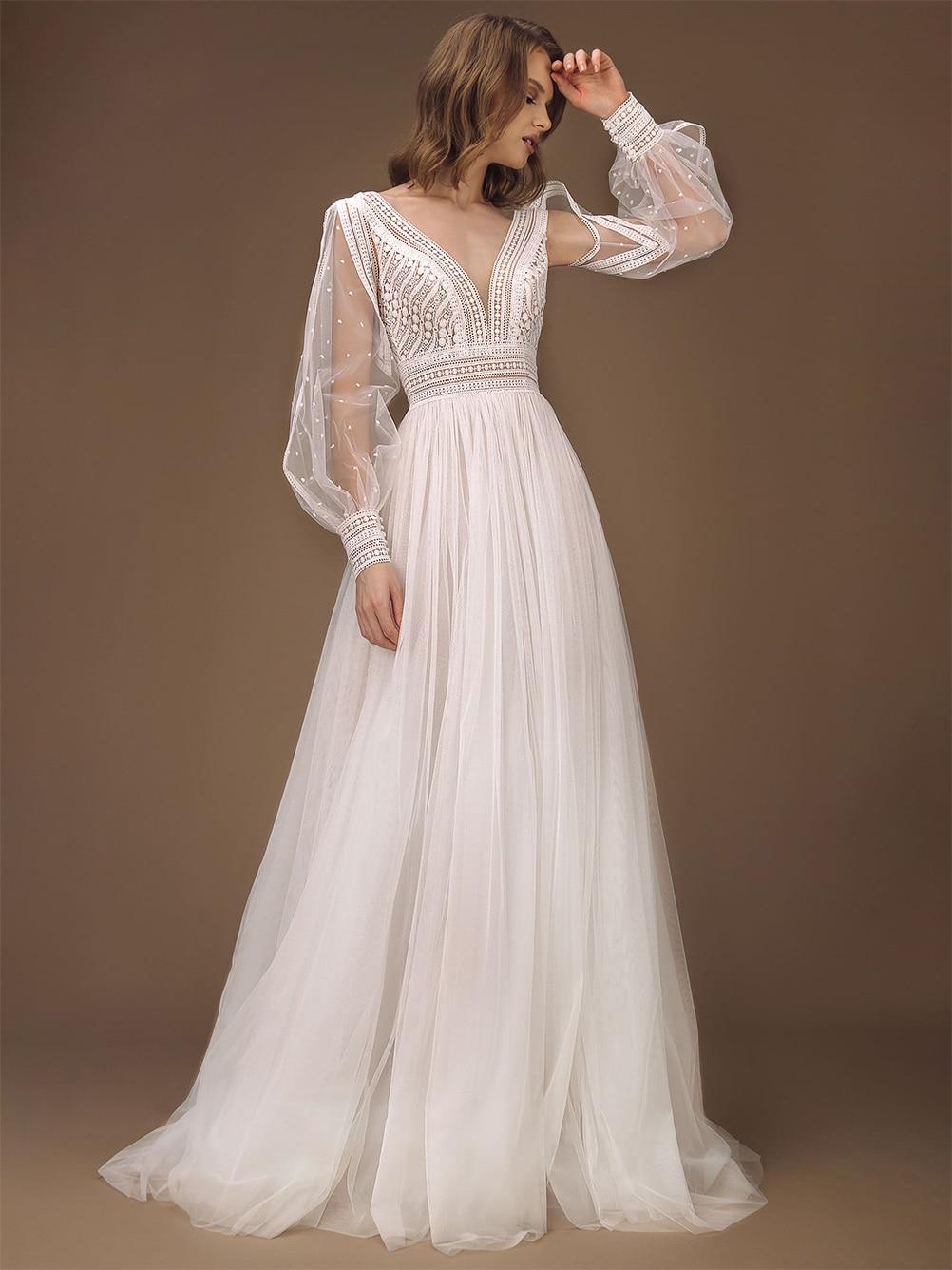 v-neck-lace-long-sheer-sleeves-boho-beach-bridal-gown-2021-backless-photography-custom-made-a-line-pre-wedding-shoot-dress