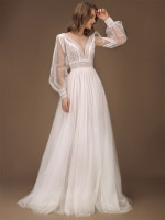 V Neck Lace Long Sheer Sleeves Boho Beach Bridal Gown 2021 Backless Photography Custom Made A Line Pre Wedding Shoot Dress
