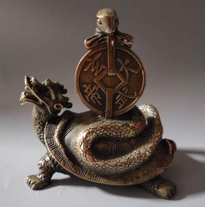 China brass dragon turtle snake crafts statue