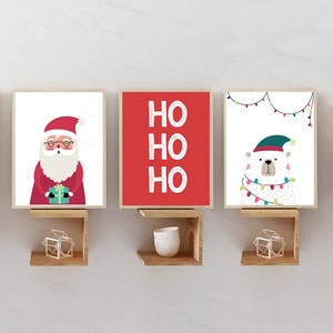 Merry Christmas Red Santa Claus and White Snowman Canvas Painting Posters and Prints Wall Art Pictures for Living Room Decor
