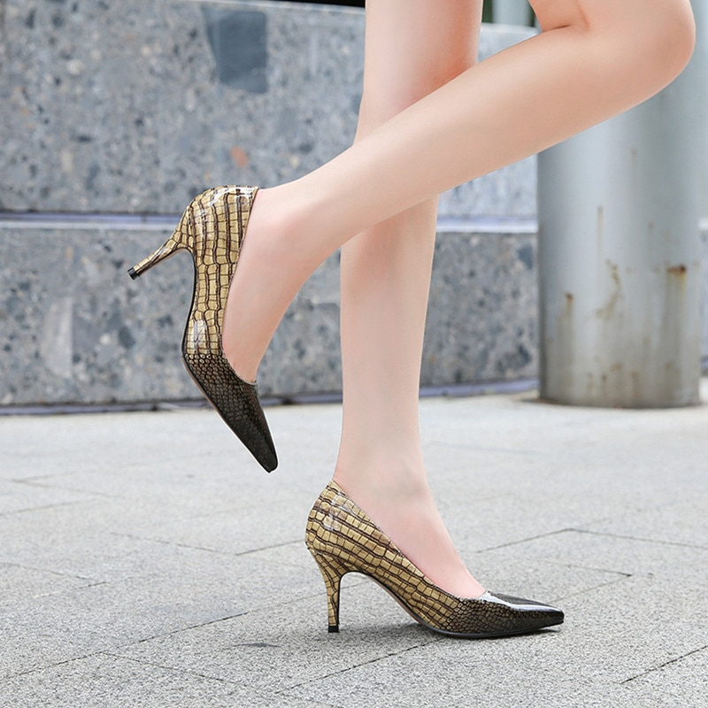 Fashion Sexy Women's Pointed Toe Pumps Stiletto High Heel 7.5cm Shoes Stitching Snake Print Wedding