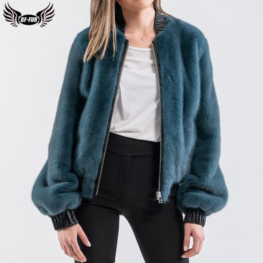 BFFUR 2021 موضة قصيرة فرو منك معاطف للنساء الفاخرة أبلى الطبيعية كامل بلت فرو منك فرو سترات جلد طبيعي معطف الفرو
