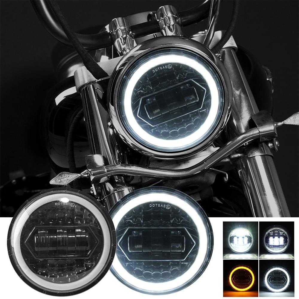 مصباح أمامي دائري LED للدراجات النارية ، شعاع منخفض وعالي ، مصباح أمامي DRL Moto مع كابل محول H4 إلى H13 ، طقم مصابيح السيارة ، 1x5.75