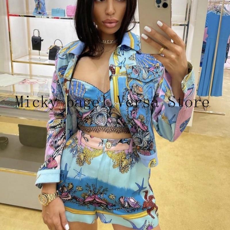 2021 luxury brand starfish shell printing fashion women's versatile Pentagram metal button High Waist Wide Leg Denim Shorts