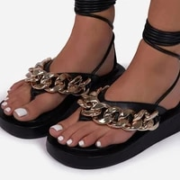 new womens sandals summer new fashion metal chain with sandals plus size women outdood flip flops female strapping sandals