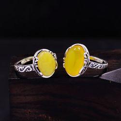 Snew prata retro estilo nacional oval charme temperamento topázio ágata abertura ajustável anel feminino