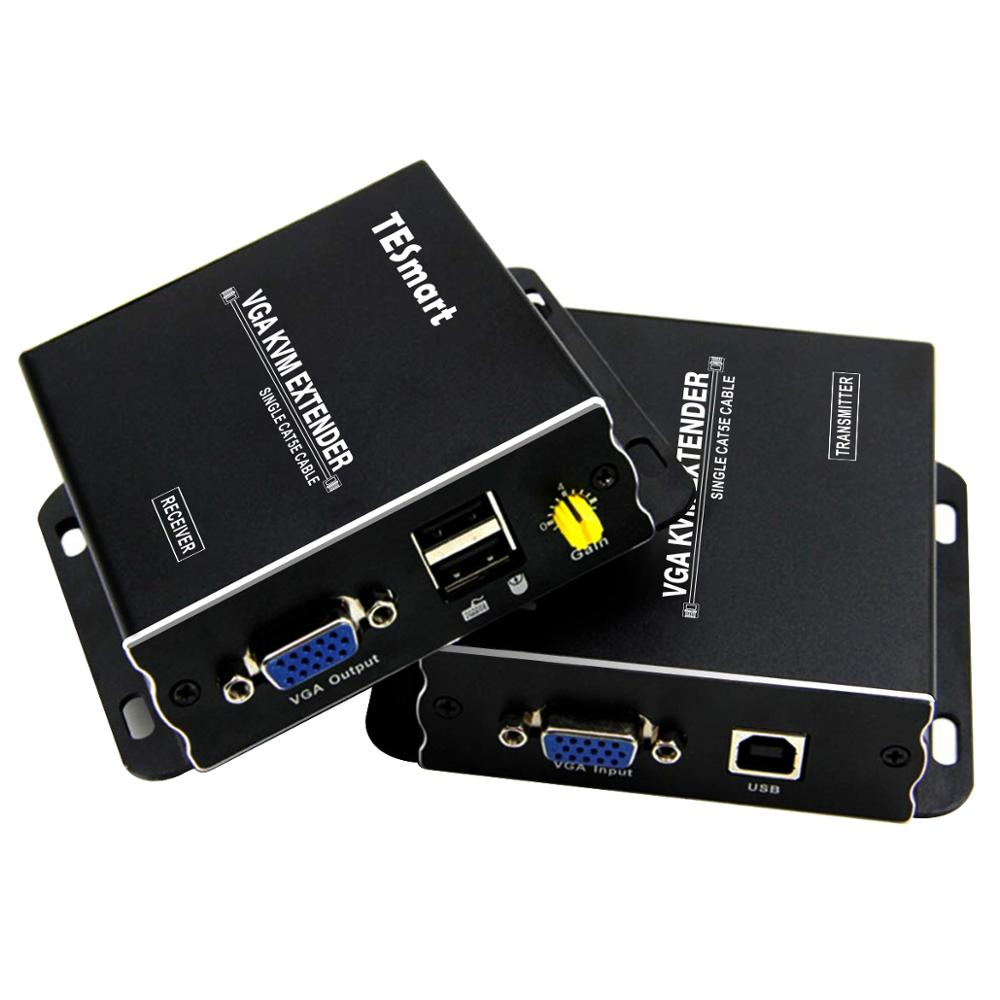 USB VGA KVM Extender 300m 1080P 60Hz Long Range 984ft Over Cat5e Cat6 Ethernet Cable VGA Extender ( up to 300m, Sender+Receiver) usb kvm extender lossless and no latency hdmi transmitter and receiver over single cat5e 6 utp ethernet cable hdmi kvm extender