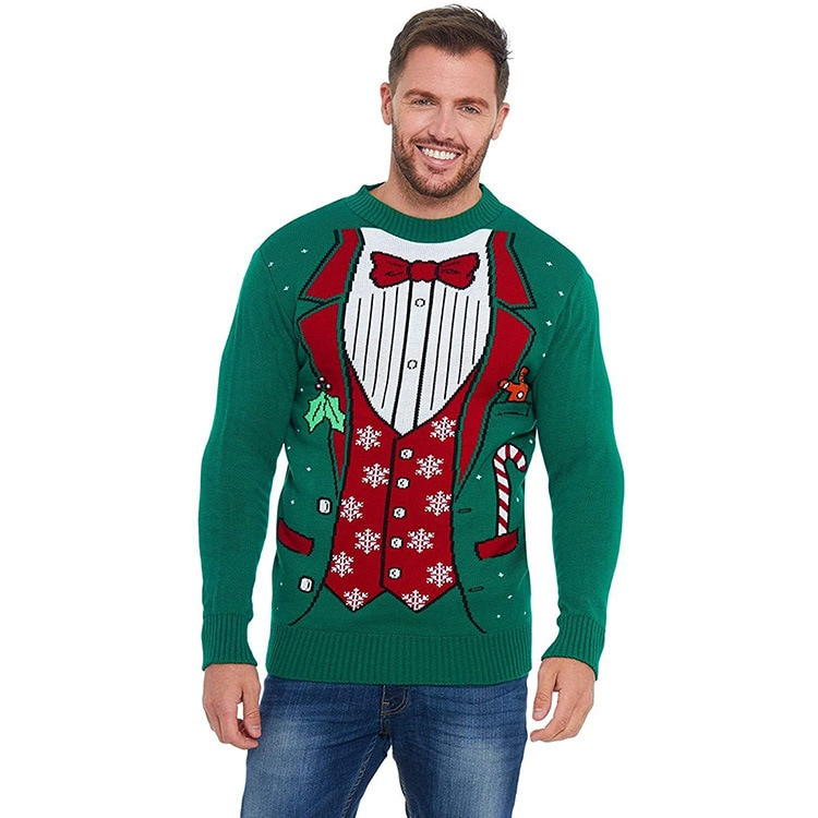 Unisex Men's Ugly Christmas Sweater Classic Fair Isle Cute Reindeer Knitted Funny Santa Pullover for Men
