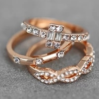 european and american fashion new ring creative stackable twist solitaire wedding ring diamond zircon ring three piece set
