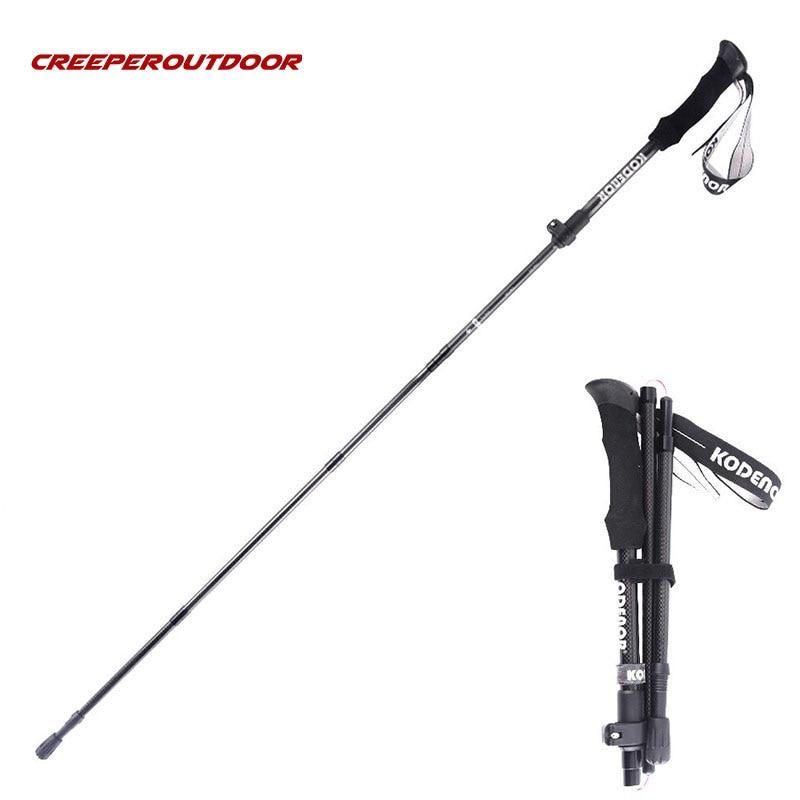 Carbon Fiber Trekking Pole Hiking Alpenstocks Outdoor Camping Stick Ultralight 5 Section Adjustable Folding Walking Crutch