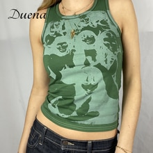 Duena Sleeveless White Top Portrait Graphic Y2K Fashion Streetwear Summer Clothes Women Tie Dye Green Print Tank Crop Tops