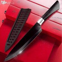 Kitchen Knife 3.5'' 5'' 7'' 8'' Chef 7CR17 440C Non Stick Black Stainless Steel Bread Slicer Utility Santoku knives 6 pieces Set