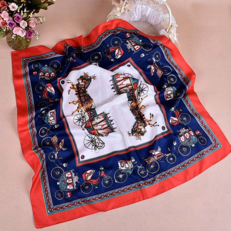 New Print carriage two-color silk twill square Hairband hijab cool shawl ladies foulard femme headband hair bufanda mujer shawl