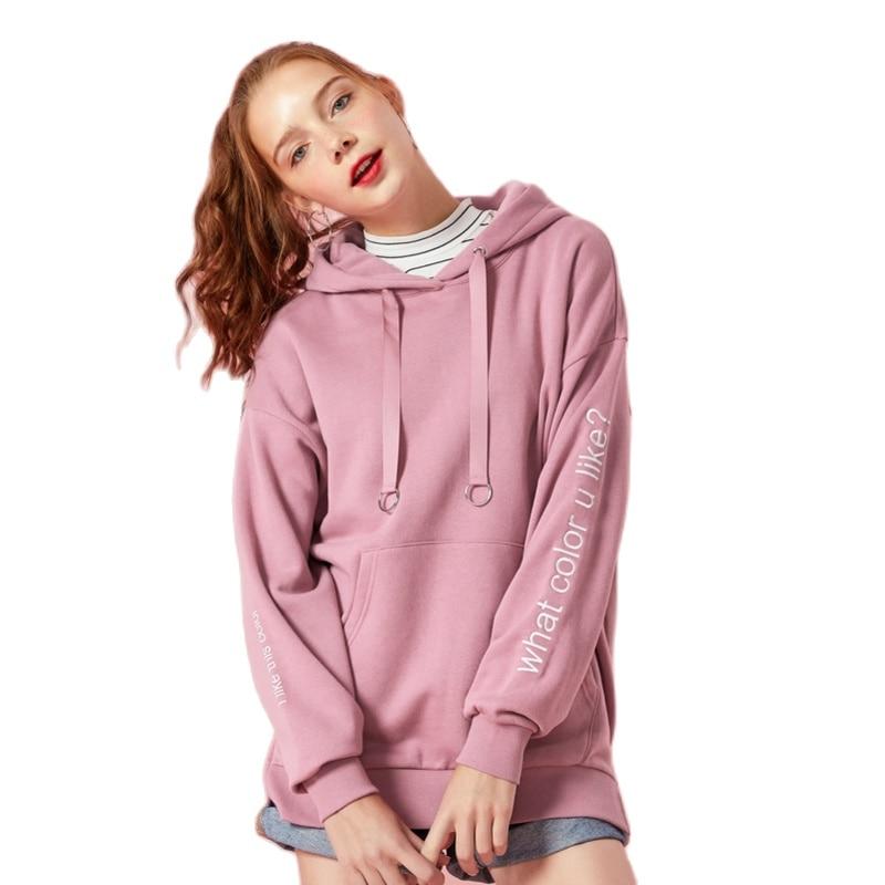 Women Long Fleece-Lined Hooded Sweatshirt Kangaroo Pocket Embroidered Pullover Hoodie Drawstring Hoodies woman