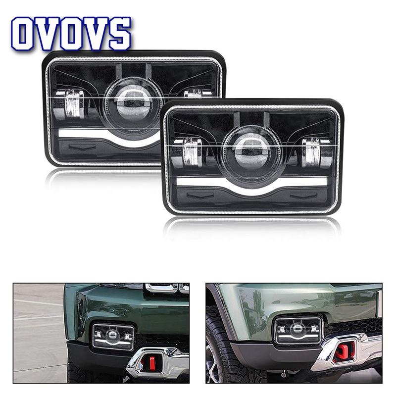 Faro delantero LED cuadrado de 4x6 2 uds. Haz alto/bajo sellado para Jeep Wrangler YJ Cherokee XJ MJ Comanche Toyota Nissan 240SX