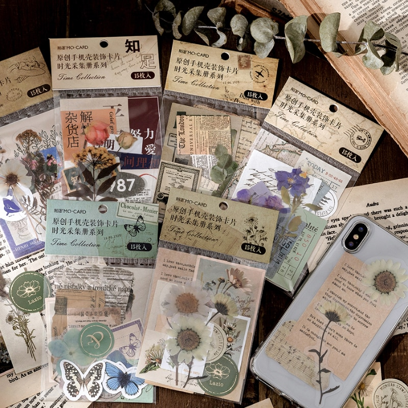 Journamm 15pcs Vintage Cards for Phone Deco Retro Stationery Supplies Plant Paper Junk Journal Label Scrapbooking Material