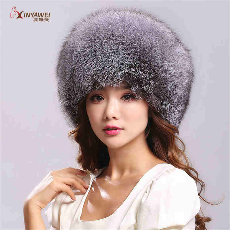 2019 Fashion New Real Fur Cap Russiam Fox Hat Winter Thick Warm Ears Fashion Bomber Hat Natural Sub-Fur New Arrival.