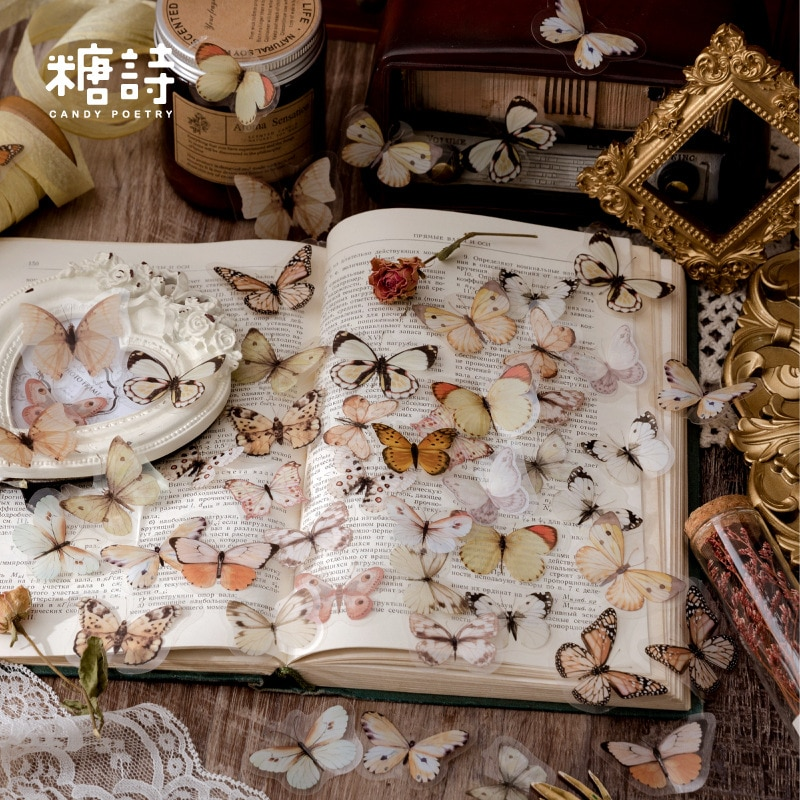 40Pcs Vintage Butterfly Stickers Pack Set Aesthetic Color Stickers For DIY Journal Planner Notebook Scrapbooking Art Supplies