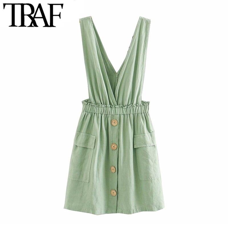 Traf moda feminina doce bolsos pinafore vestido vintage v pescoço elástico cintura correias vestidos femininos chiques mujer