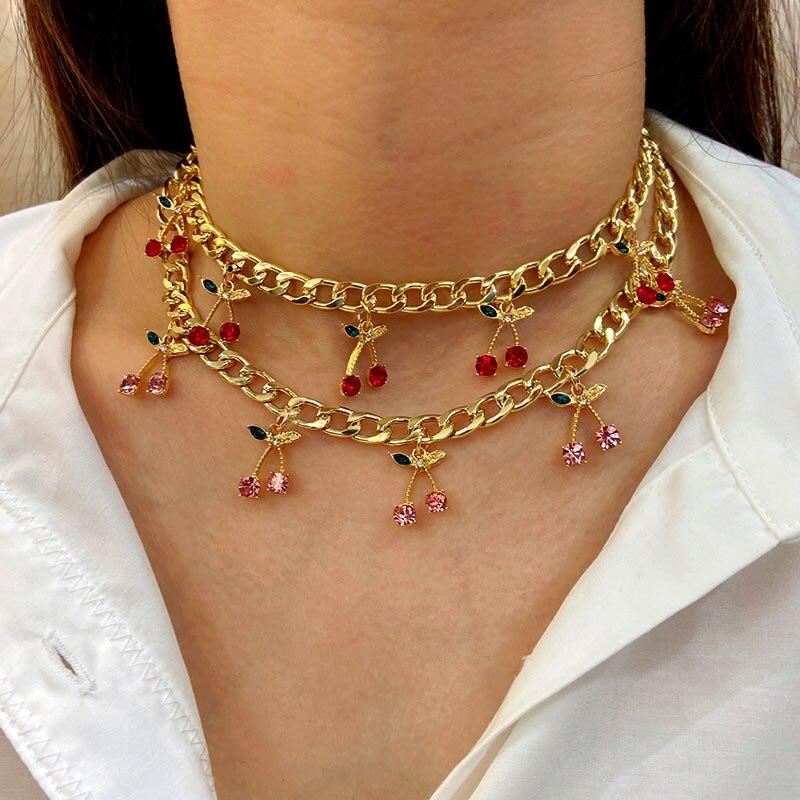 Jjfoucs colar com pingente de cereja, colar pingente de cristal, gargantilha colar de metal com declaração, bijuteria para meninas