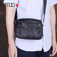 AETOO Handmade men's leather bag cowhide mini bag casual one-shoulder mobile phone bag horizontal