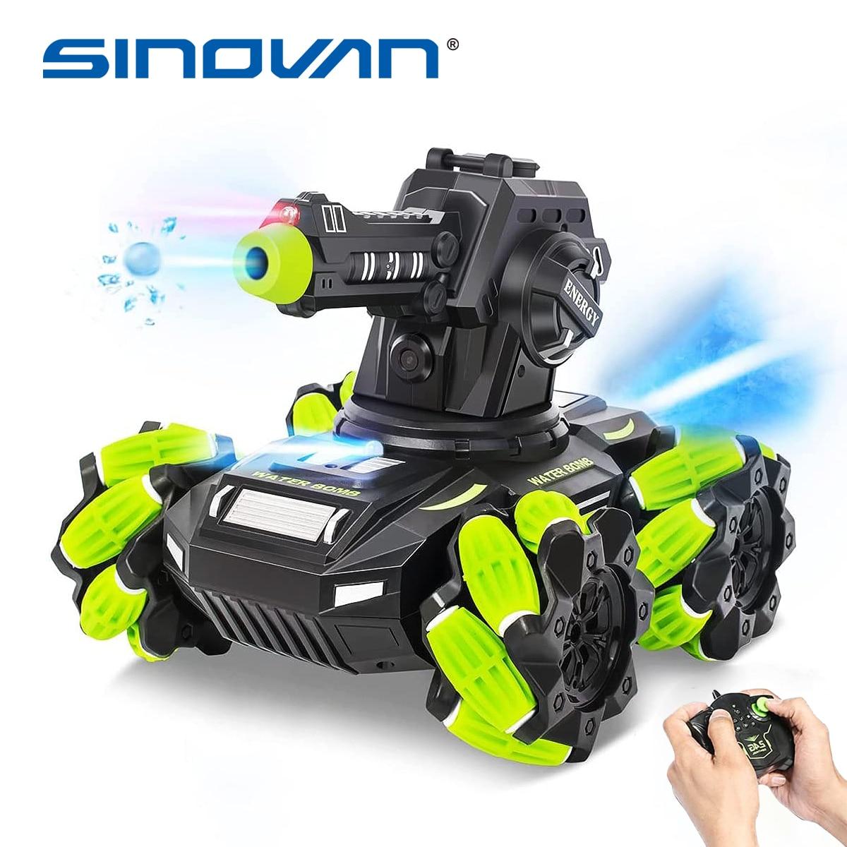 Sinovan RC Tank Shooting водяные пули 360 ° вращающаяся Водяная бомба RC автомобиль 2,4 Ghz игрушки с пультом дистанционного управления светодиодный игрушечный спрей для детей подарок