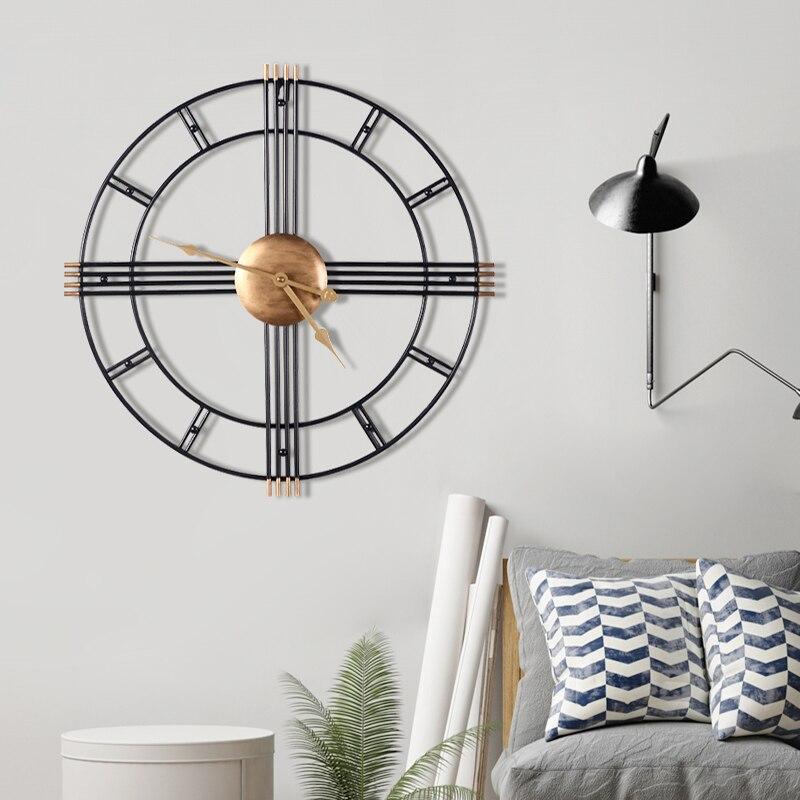Nordic Metal de pared silencioso arte del reloj grande minimalista moda creativa de pared de hierro forjado reloj salón de decoración EA50ZB